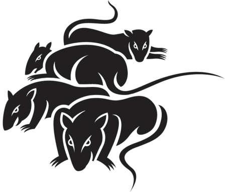 intentie: Een groep van slechte ratten in zwart en wit vaste kleuren