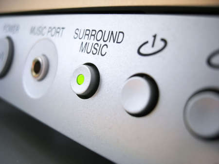 surround system: Surround music highlighted buttonin  Stock Photo