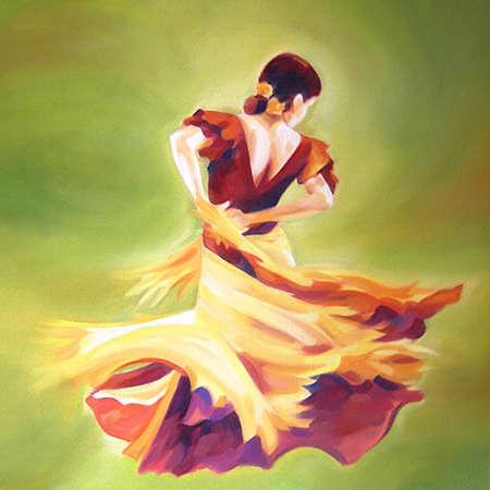 flamenco dancer: Flamenco bailar�n en circulaci�n durante un fondo verde