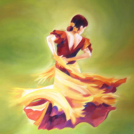 Flamenco dancer in movement over a green background