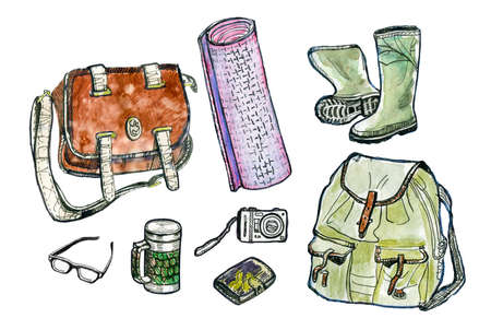 Hiking set. Watercolor illustration Stock Photo