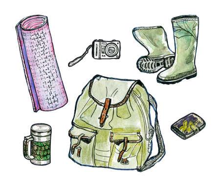 haversack: Hiking set. Watercolor illustration Stock Photo