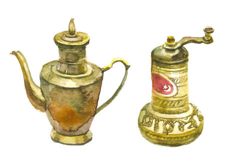 Old bronze coffee mill and antique brass teapot. Watercolor illustration