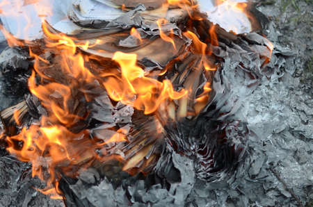 Abstract background of a paper in fire. Photography