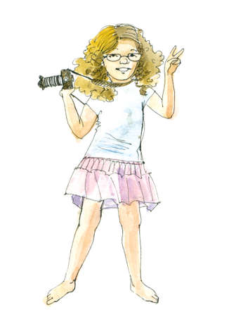 Redhead girl  with a camera. Watercolor illustration