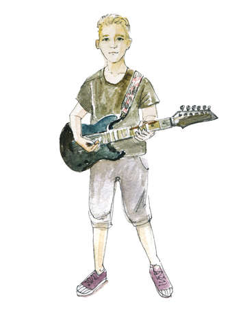 Young boy playing electric guitar. Watercolor illustration