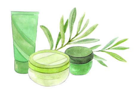Cosmetic container with green leafs. Hand drawn illustration