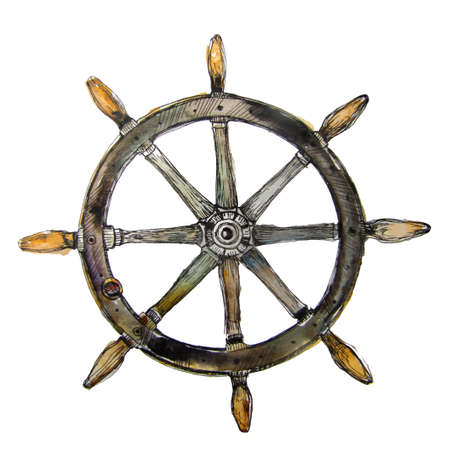 Watercolor yacht steering wheel or marine logo idea. Hand painted watercolor