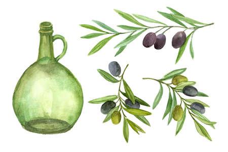 Flasche Öl und Olivenzweig . Aquarellillustration lokalisiert auf weißem Hintergrund Standard-Bild - 88149054