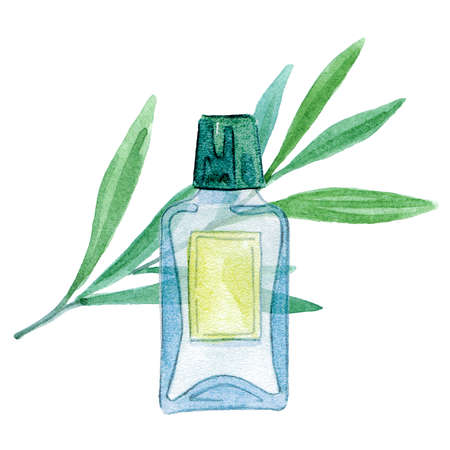 Bottle of essential oil or perfume and leaves. Watercolor illustration Stock Photo