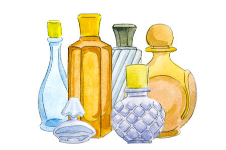 Collection on perfume bottles painted in watercolor on white isolated background
