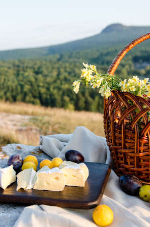 Cheese brie and plums on a wooden board. Picnic lunch with landscape background