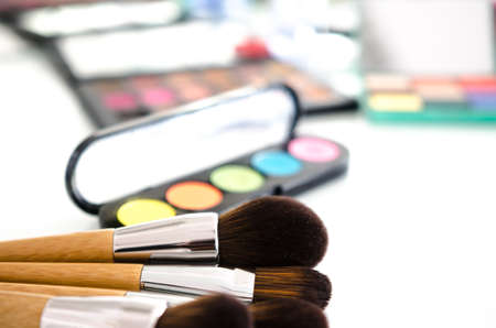 Makeup cosmetics on white background. Copy space. Beauty tools palettes collection