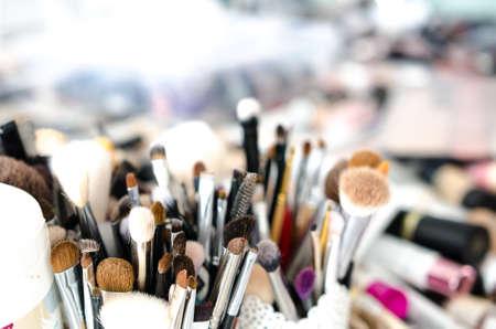 Set of makeup brushes and decorative cosmetics. Soft focus Banco de Imagens