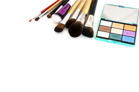 Beauty tools palettes collection. Brush and blushes on white background