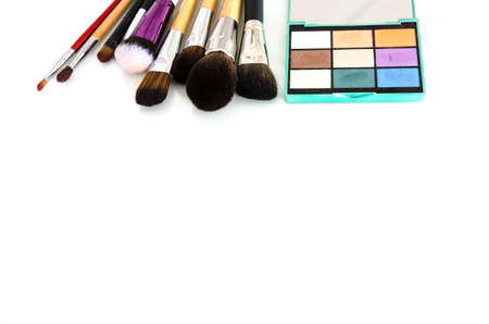 Beauty tools palettes collection. Brush and blushes on white background. Copy space