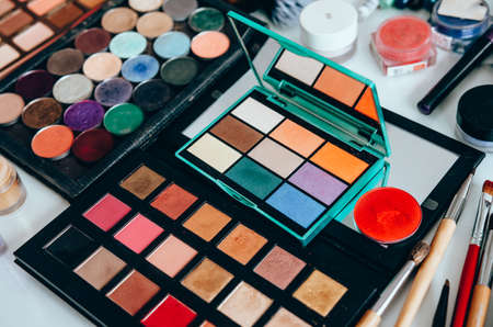 Makeup brush and cosmetics. Beauty tools palettes collection Banco de Imagens