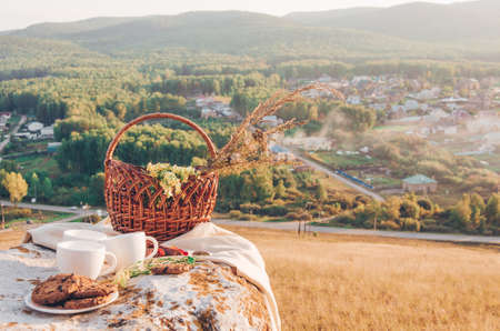 Picnic lunch with landscape background. Three coffee cups,  chocolate homemade cookies and basket with flowers. Beautiful view