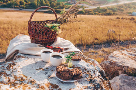 Picnic lunch with landscape background. Two coffee cups, cheese brie, plums and basket with flowers Banco de Imagens