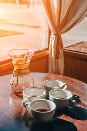 Cups of coffee. Coffee shop terrace Reklamní fotografie