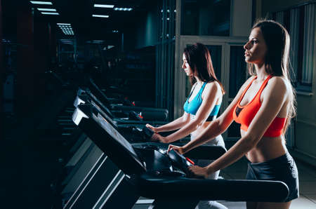 Side view of two attractive sports women doing cardio training in gym. Healthy lifestyle