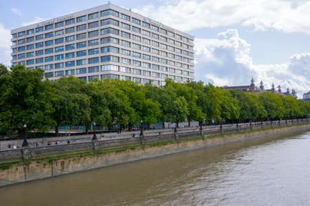 St Thomas Hospital overlooking the River Thames in London, England, UK Editorial
