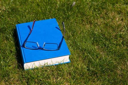 Hard backed book and reading glasses on a grass background Imagens - 109075577