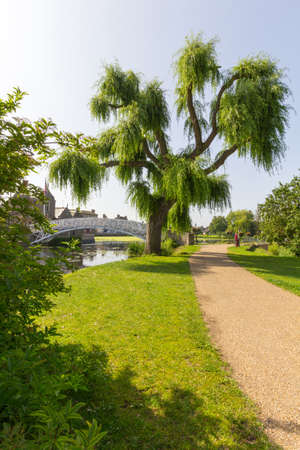Walkway alongside the River Great Ouse in Godmanchester Cambridgeshire, UK