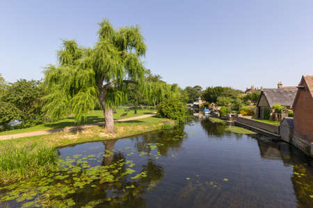View along the River Great Ouse in the town of Godmanchester, Cambridgeshire, England, UK