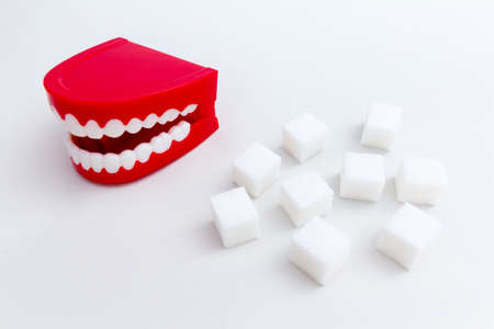 Set of joke false teeth with sugar cubes