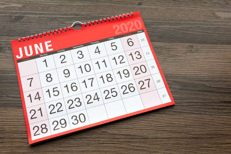 Calendar page showing the month of June 2020 Zdjęcie Seryjne