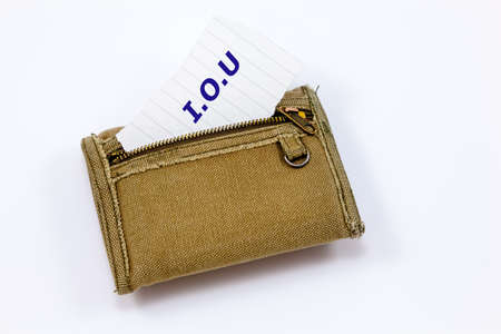 Fabric wallet with an IOU note in front panel