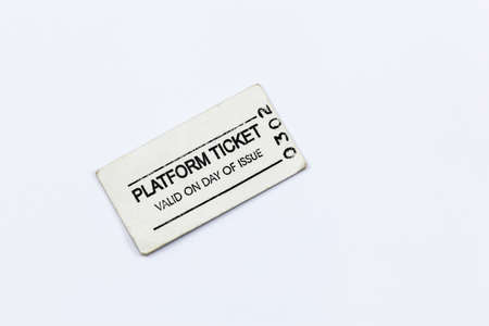 Old fashioned platform ticket for train and railway