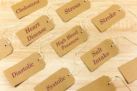 Words associated with high blood pressure written on labels