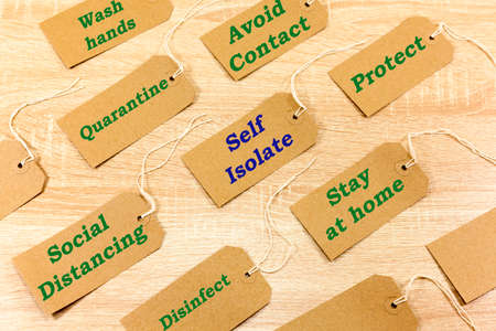 Labels with messages relating to the Coronavirus outbreak