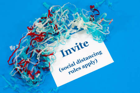 Invite message alongside streamers - with an instruction that reads 'social distancing rules apply'