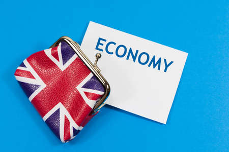 UK Economy Concept - with open union jack purse and the word 'Economy'