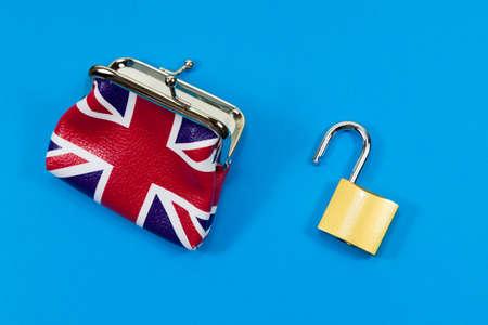UK Finances Concept - with union jack purse and open padlock