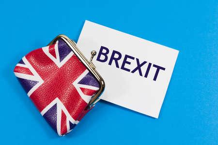 Brexit Concept with union jack purse and the message 'Brexit' Archivio Fotografico