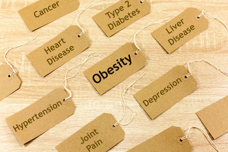 Health Concept with words highlighting Obesity and associated conditions Archivio Fotografico