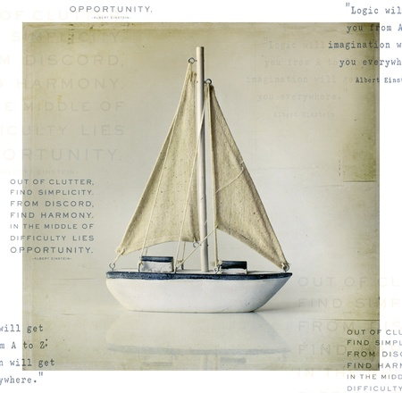 Sail boat with textures and handmade stamps photo
