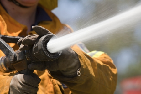 hoses: Firefighter with hose