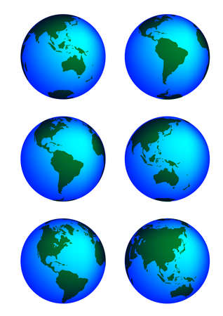revolving: This is a set of globes showing our planet revolving in different stages. Illustration