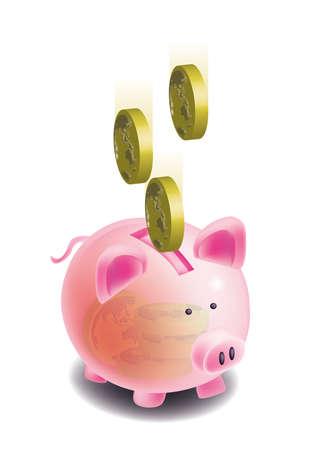 money box: putting global coins into a piggy money box Stock Photo