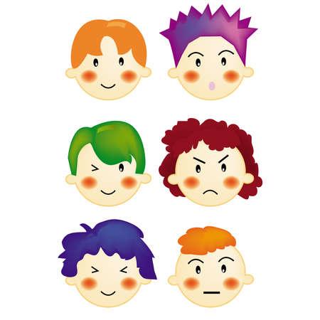 anger kid: vettore, illustrazione, di espressione, di stile dei capelli, i ragazzi
