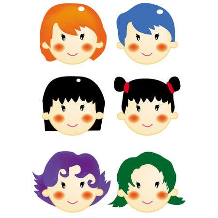 vector, illustration, expression, hair style, girls illustration