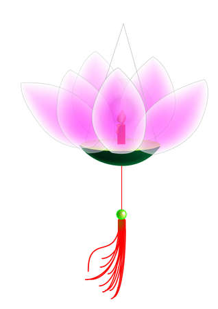 lotus lantern: a shape of lotus flower lantern, vector, illustraction