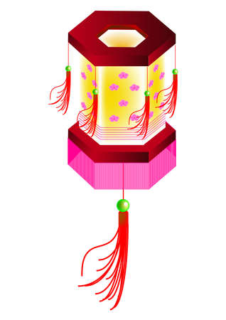 lantern festival: six polygon shape of lantern, vector, illustration Illustration