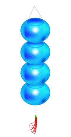 moon cake festival: blue lantern in a row, vector, illustration