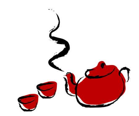 chinese tea cup: tetera, taza de t�, vector, ilustraci�n Vectores